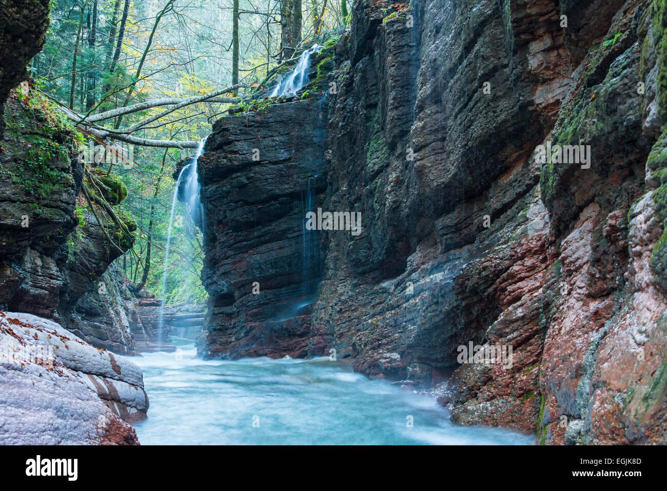 Taugl stream, Tauglbach or Taugl River, Taugl River Gorge, Tennengau region, Salzburg State, Austria Stock Photo