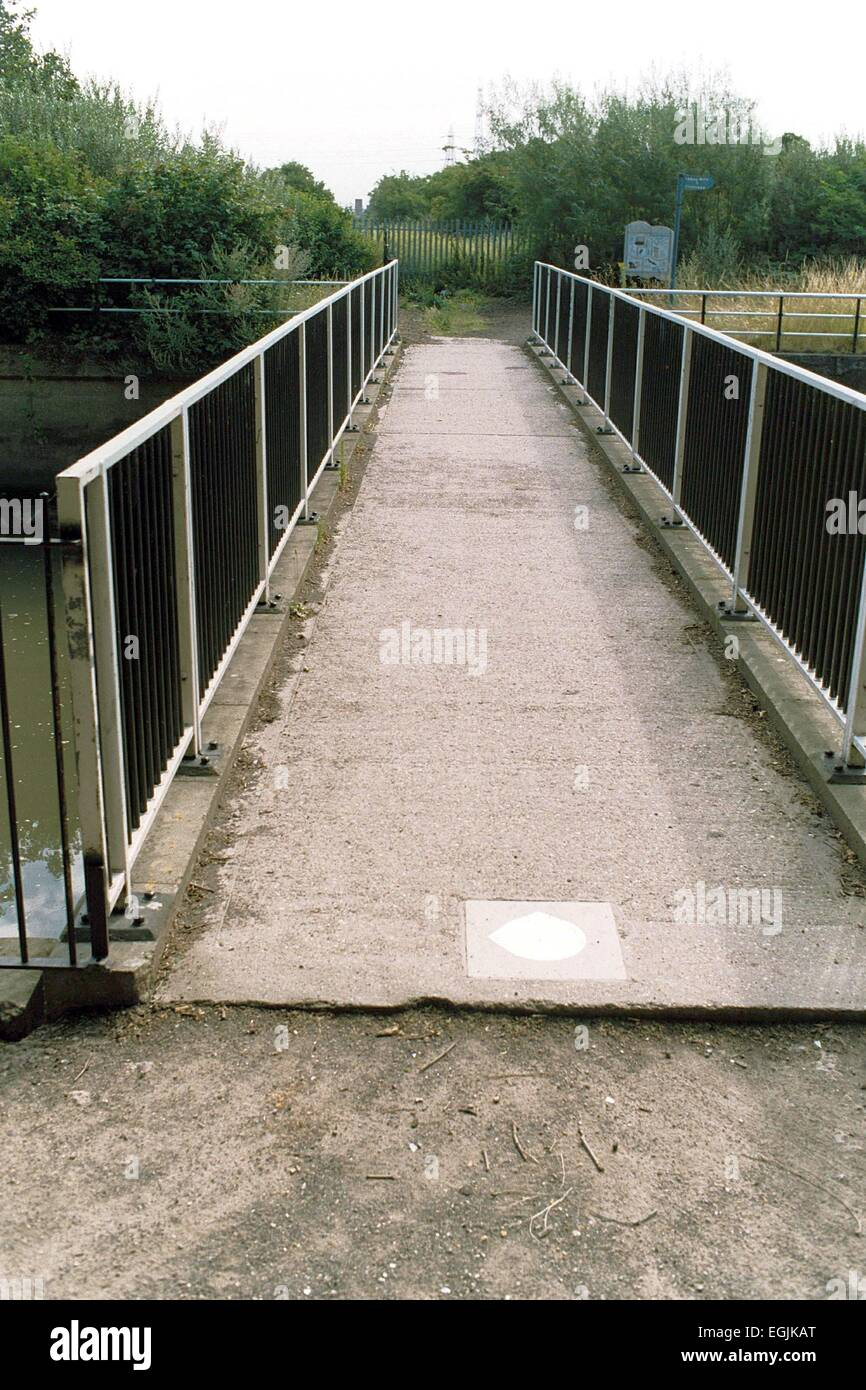 Bridge leading to the site of the first Big Brother House, Three Mills Studios, Mill Lane, London, Britain - 20th - Stock Image