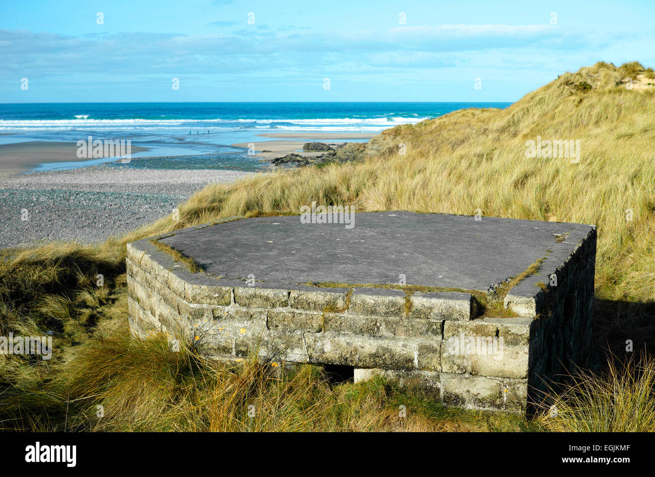 a second world war pill box in the sand dunes at gwithian in cornwall, uk - Stock Image