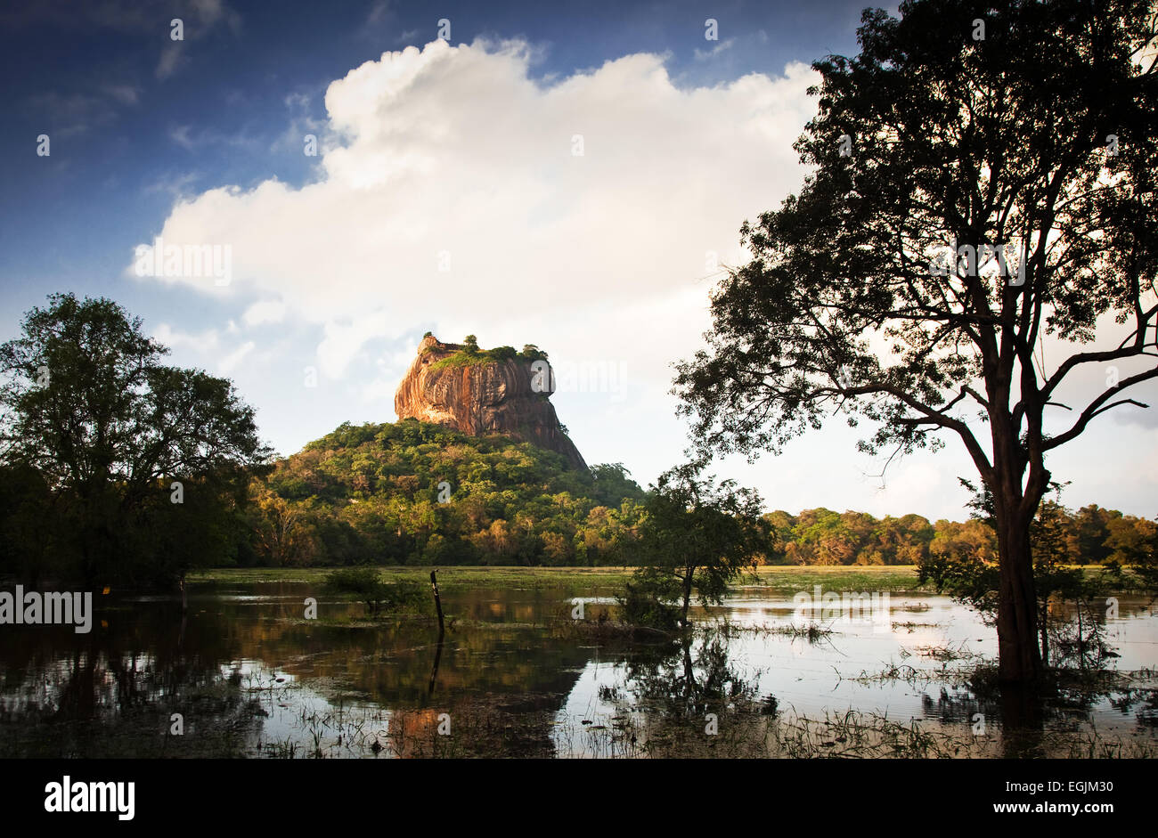 Sigiriya Lion Rock Fortress in Sri Lanka - Stock Image