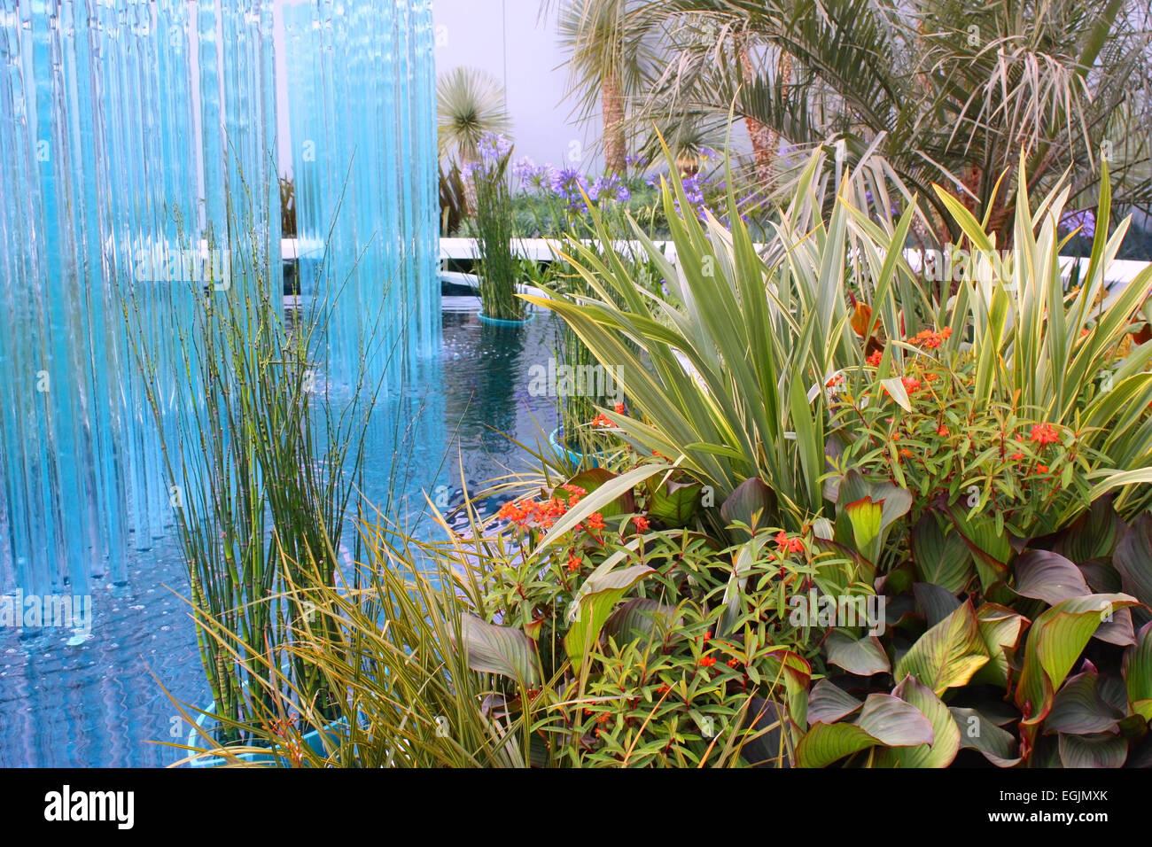 Glass fountain Stock Photo