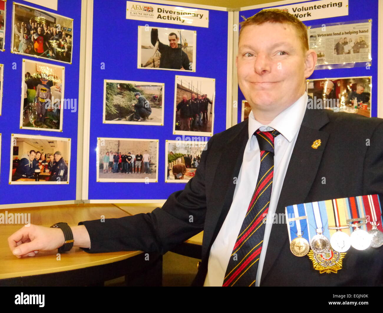 Newcastle upon Tyne, England, UK.  25 February 2015.  Army veteran, Keith Hardie, resident at the Armed Forces & - Stock Image