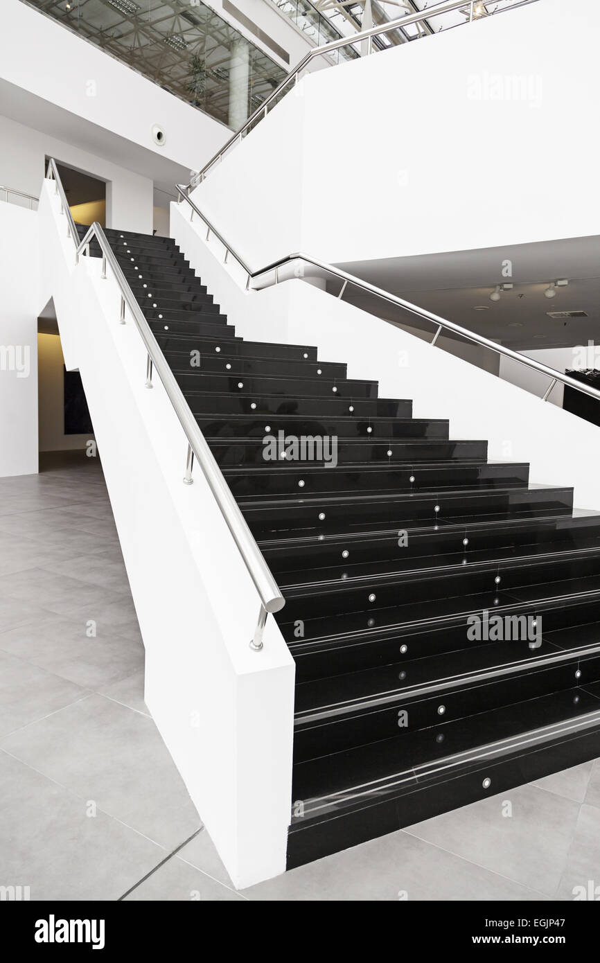 Black Marble Stairs Detail Of The Interior Of A Modernist Building Stock Photo Alamy