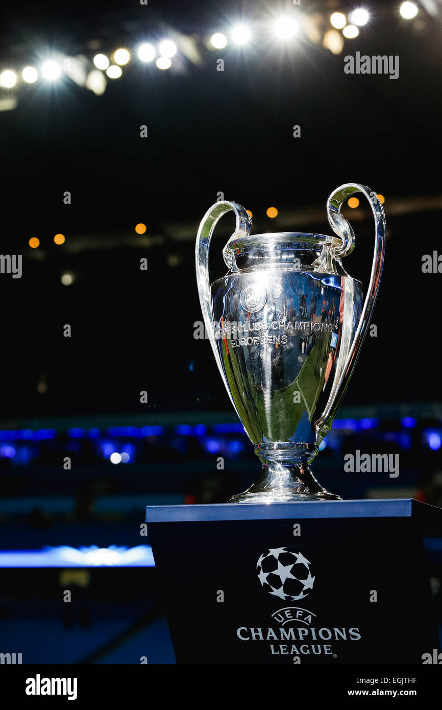 champions league trophy high resolution stock photography and images alamy https www alamy com stock photo manchester uk 24th feb 2015 uefa champions league trophy footballsoccer 79090411 html