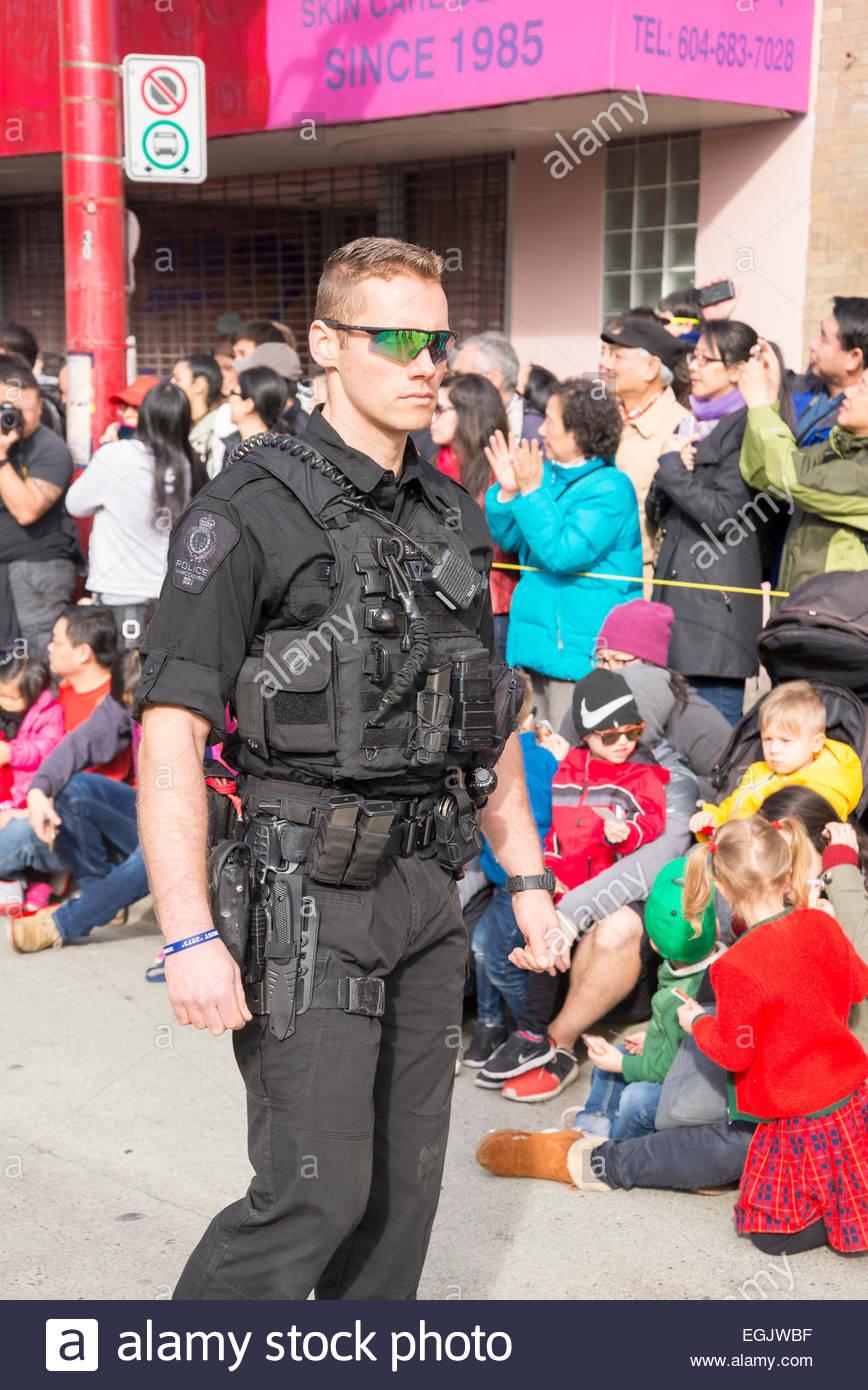 Vancouver policeman with full gear, Vancouver, British Columbia, Canada - Stock Image