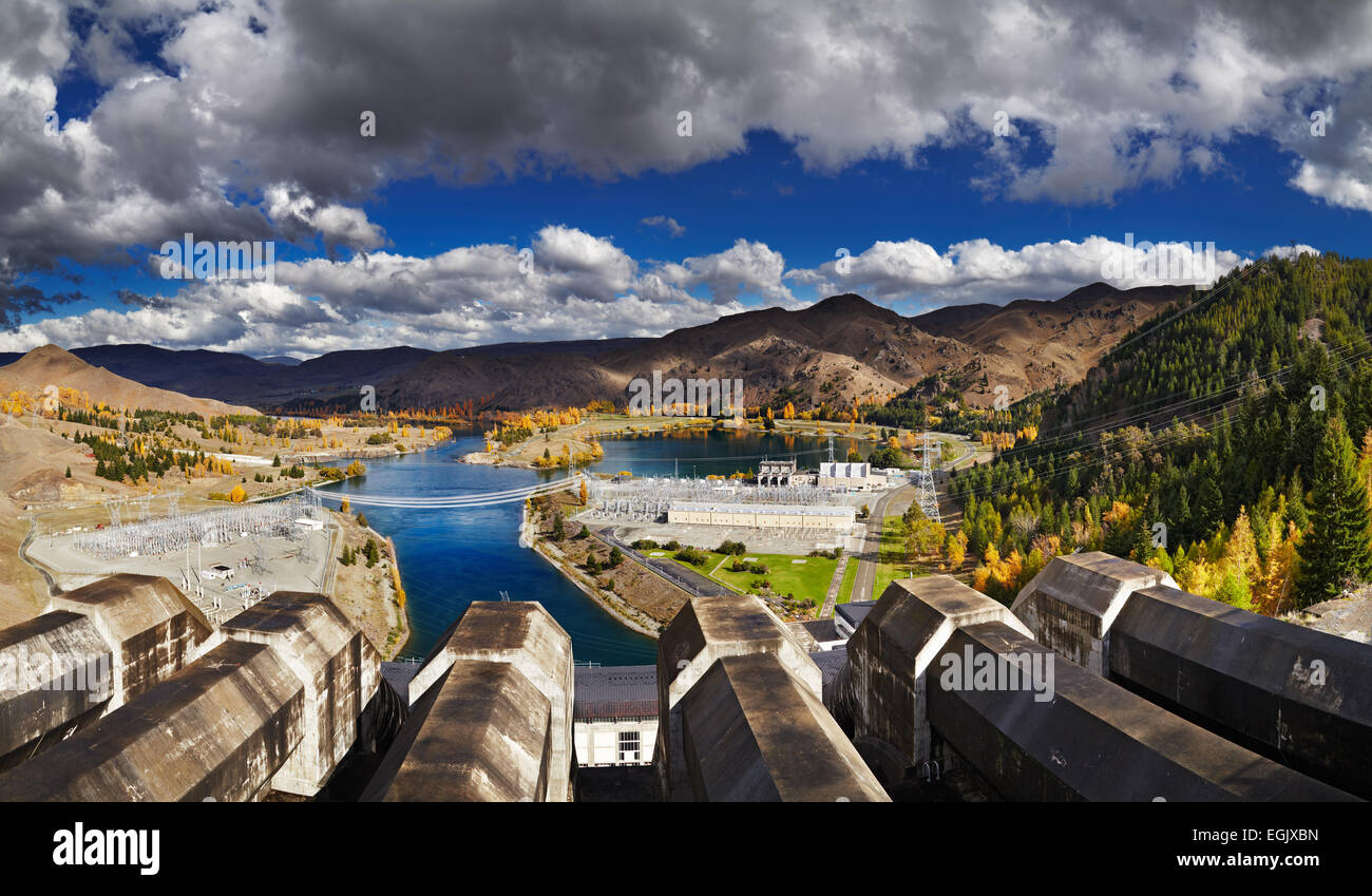 Lake Benmore hydroelectric dam, New Zealand - Stock Image