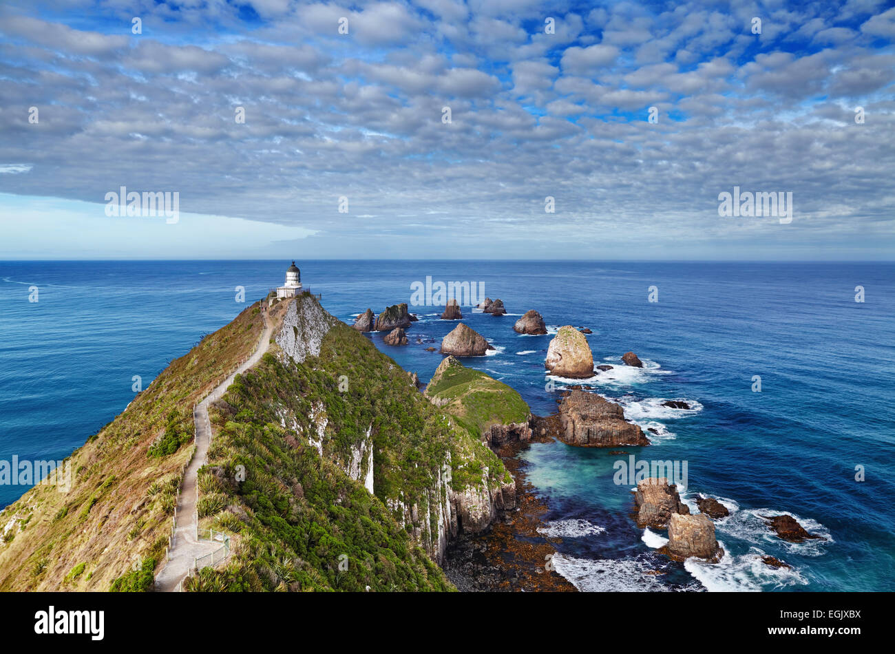Nugget Point Lighthouse, South Island,  New Zealand - Stock Image