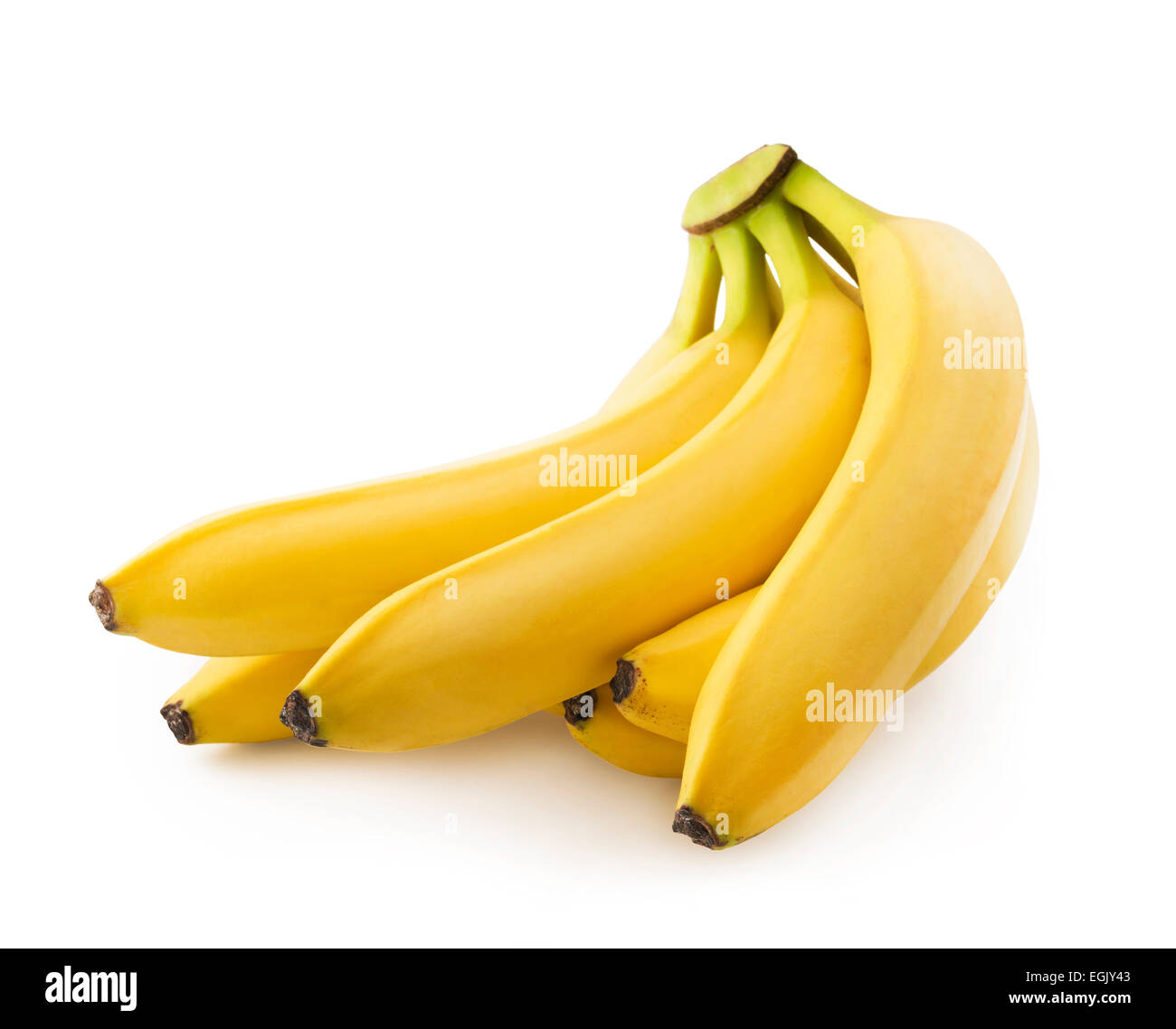 Bunch of fresh spotless yellow bananas Stock Photo