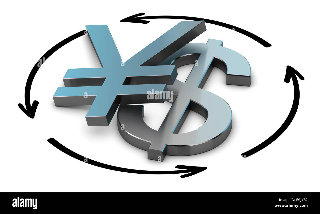 Euro and Yen symbols with four circular arrows over white background , Illustration of exchange between two currencies. - Stock Image