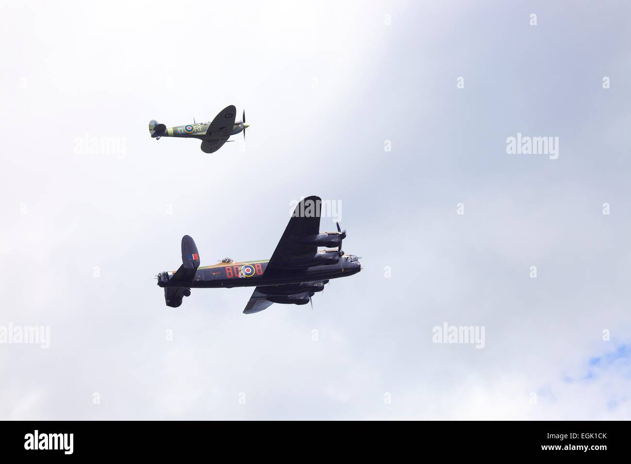 Battle of Britain Memorial Flight. Spitfire Mk Vb. Avro Lancaster B1 Bomber. - Stock Image