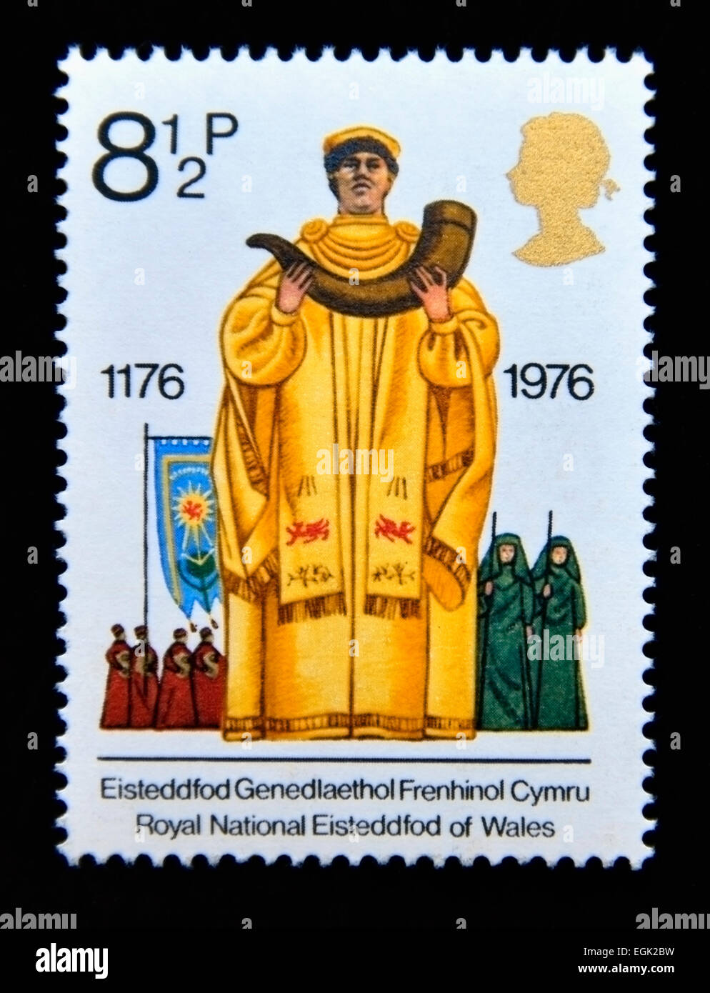 Postage stamp. Great Britain. Queen Elizabeth II. 1976. British Cultural Traditions. Archdruid. - Stock Image