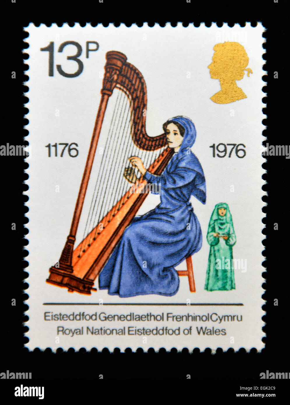 Postage stamp. Great Britain. Queen Elizabeth II. 1976. British Cultural Traditions. Welsh Harpist. - Stock Image