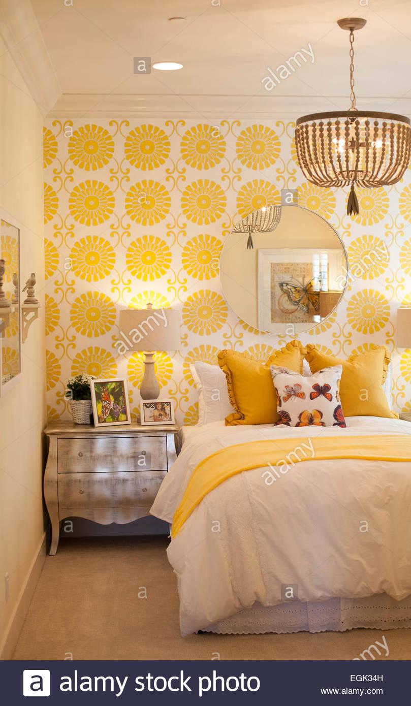 Bedroom Wall Bed Cushions Stock Photos & Bedroom Wall Bed Cushions ...