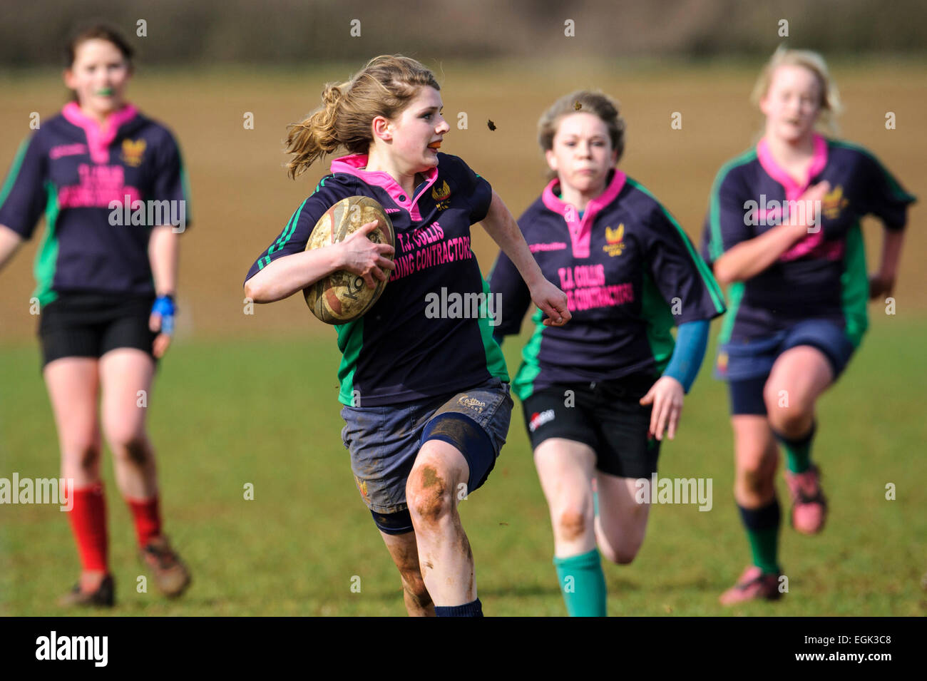 North Dorset Rugby Football Club under 18 girks versus Dorset County U18 girls. NDRFC player in action. Stock Photo