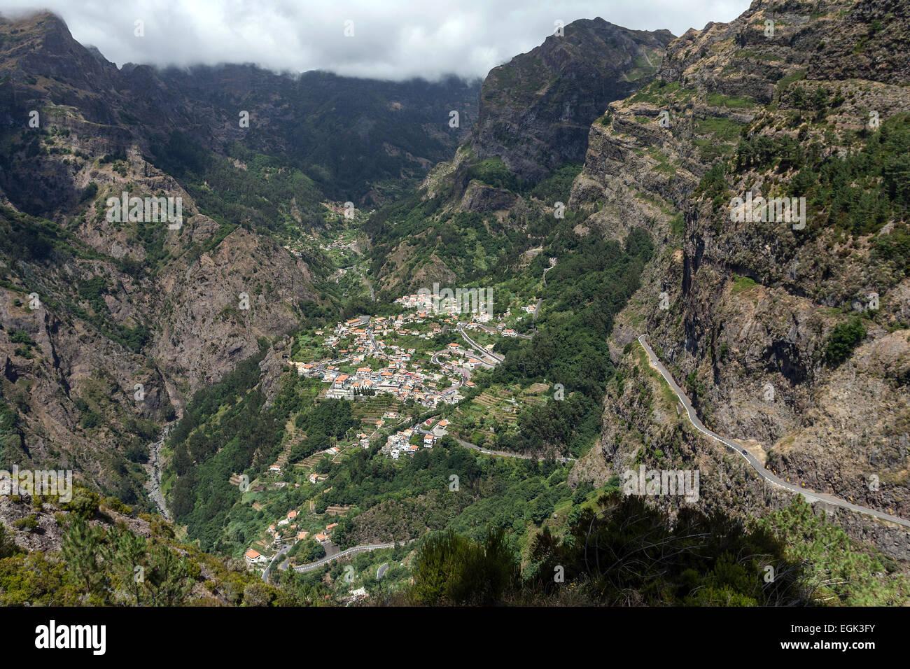 View from Eira do Serrado on Curral das Freiras, Madeira, Portugal - Stock Image