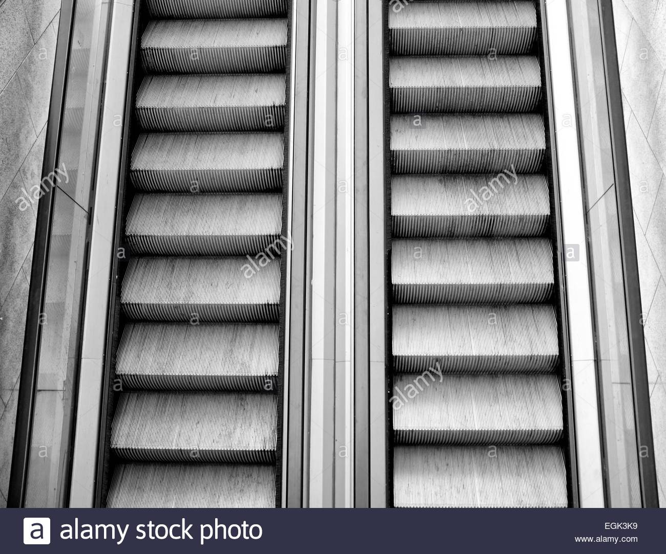 Elevated view of escalator - Stock Image