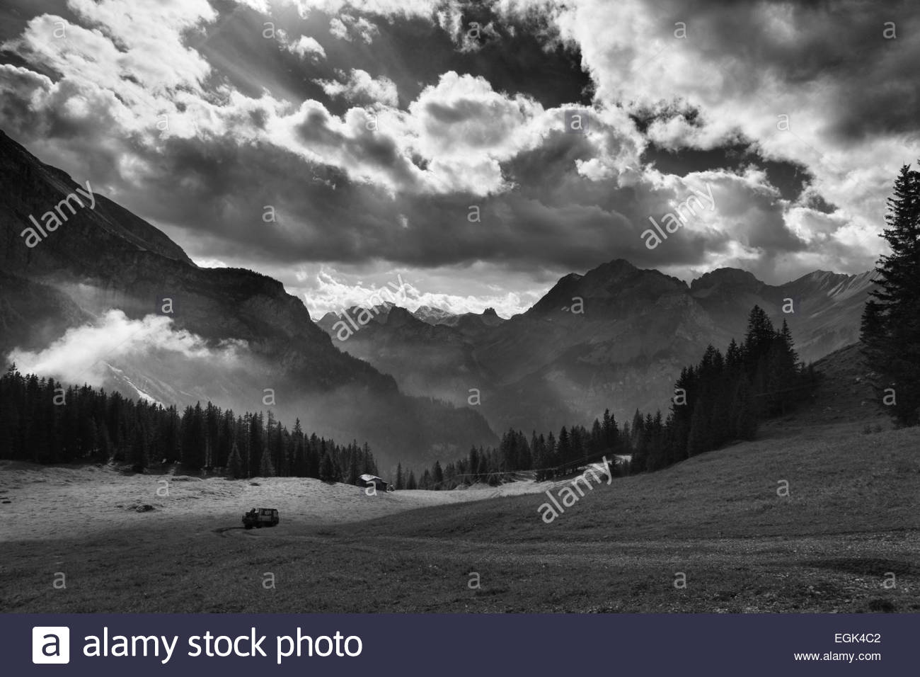 Majestic mountain view in black and white - Stock Image