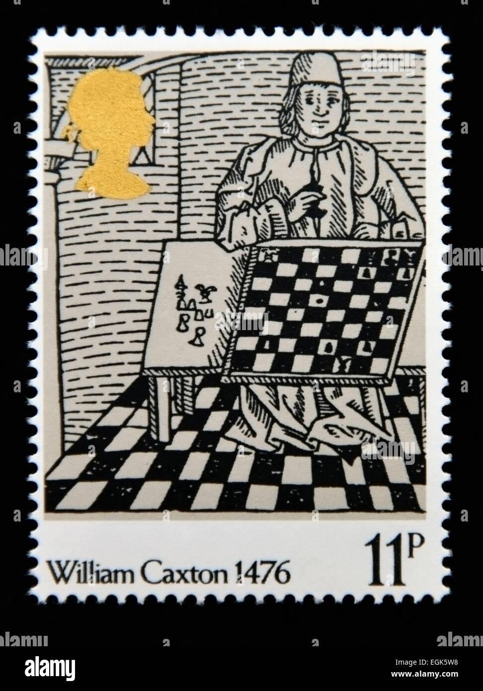 Postage stamp. Great Britain. Queen Elizabeth II. 1976. 500th.Anniversary of British Printing. William Caxton 1476. - Stock Image