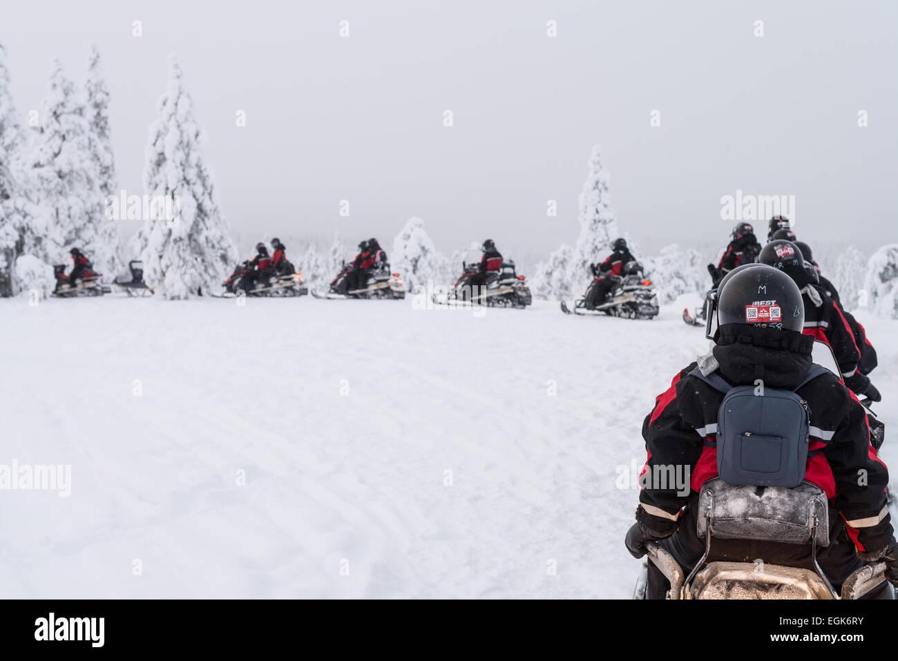 Snowmobile safari in Lapland - Stock Image