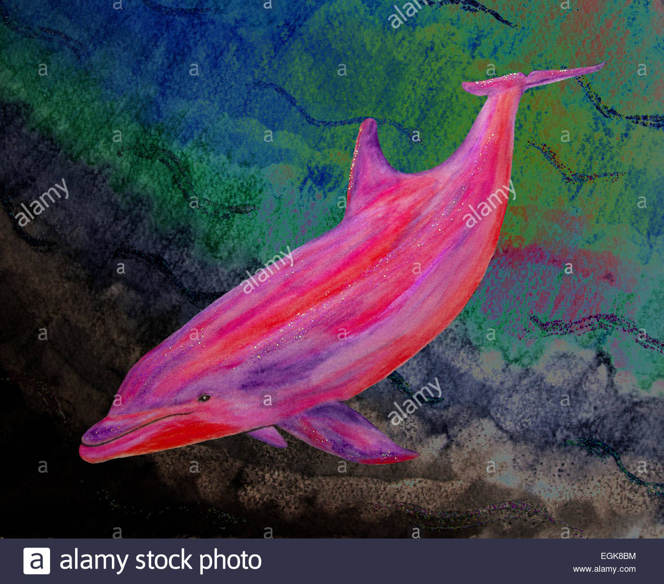 Bottlenose Dolphin, water colour, pink - Stock Image