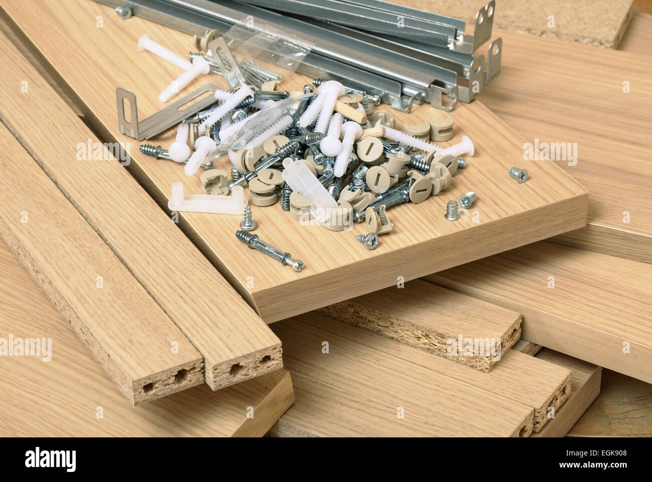 Close up of assembly furniture kit - Stock Image