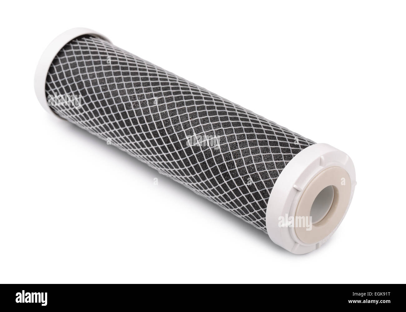 Carbon water filter cartridge isolated on white - Stock Image