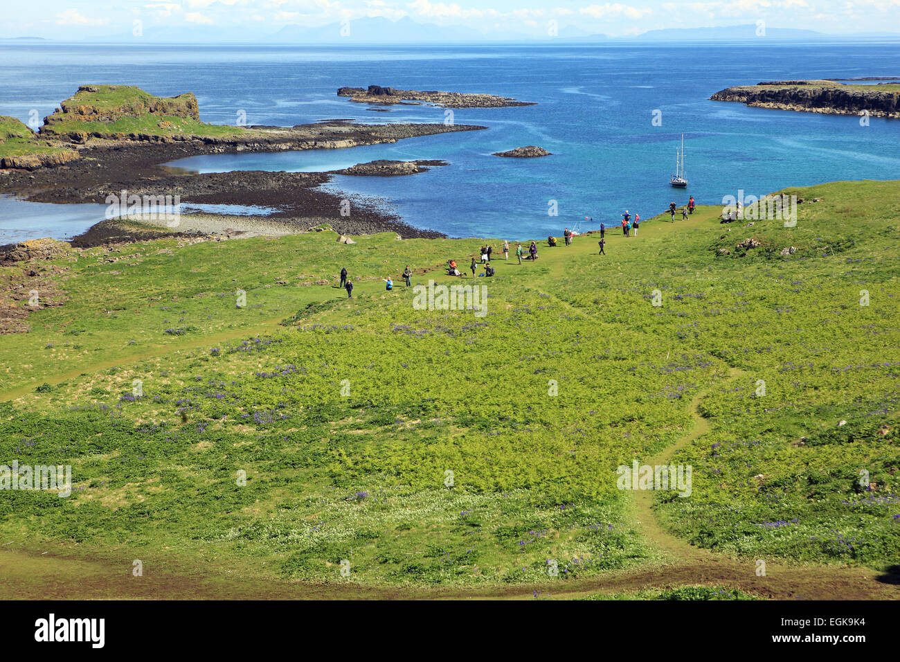 Visitors to Lunga one of the Treshnish Isles in the Inner Hebrides of Scotland and abundant with wildlife. - Stock Image