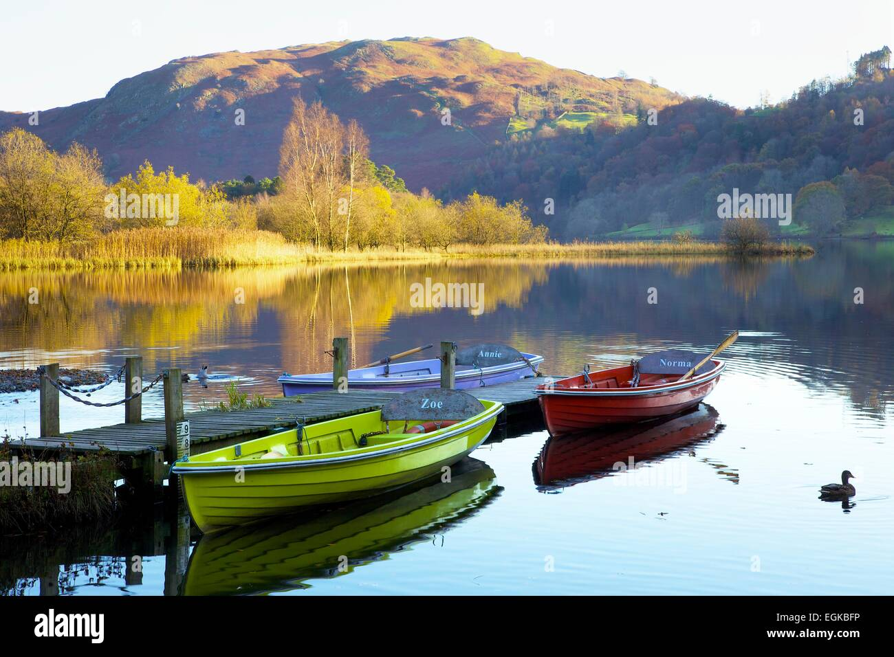 Boats moored on Grasmere, Lake District National Park, Cumbria, England, UK. - Stock Image