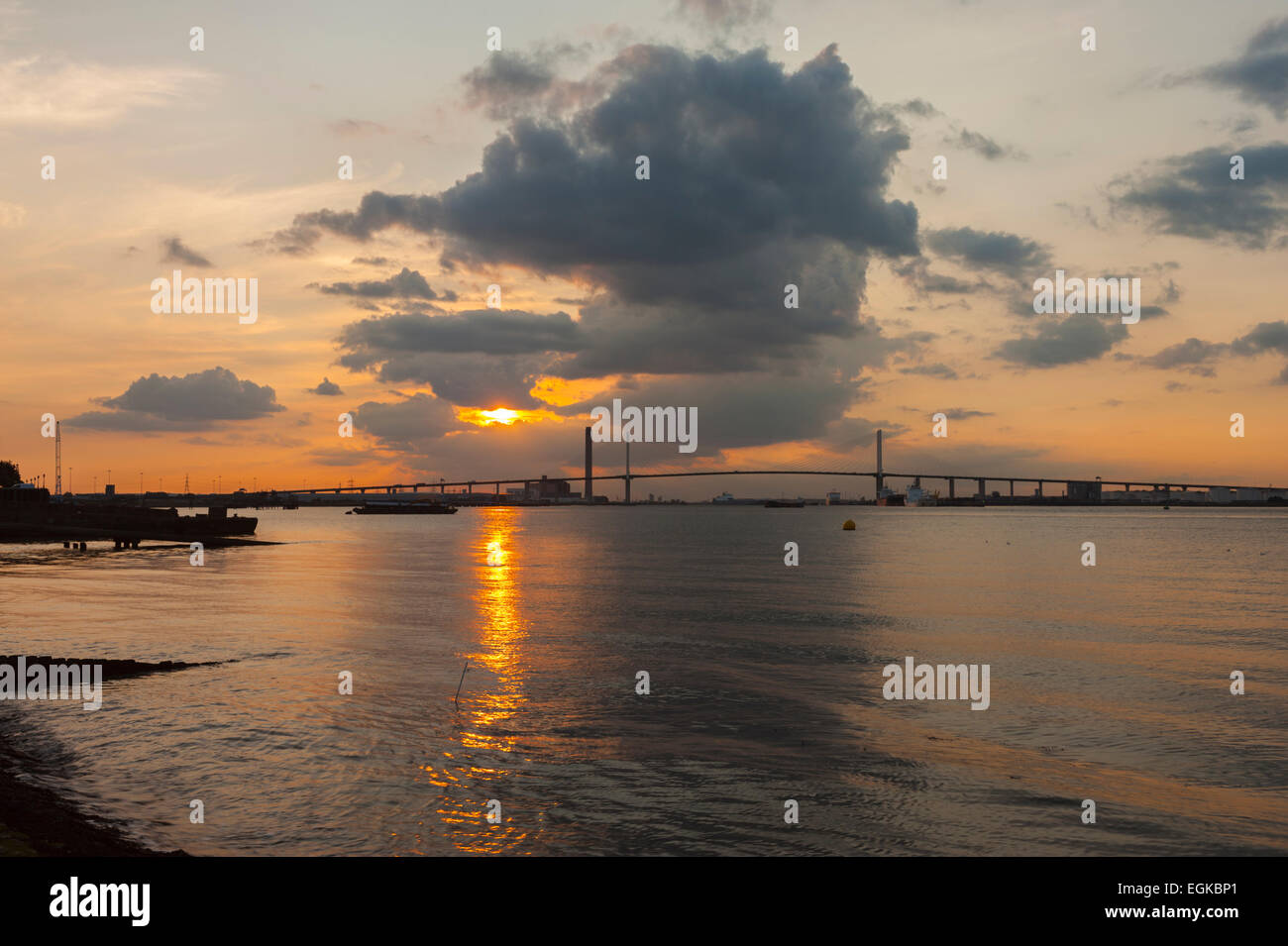 The Dartford bridge at sunset from Greenhithe. - Stock Image
