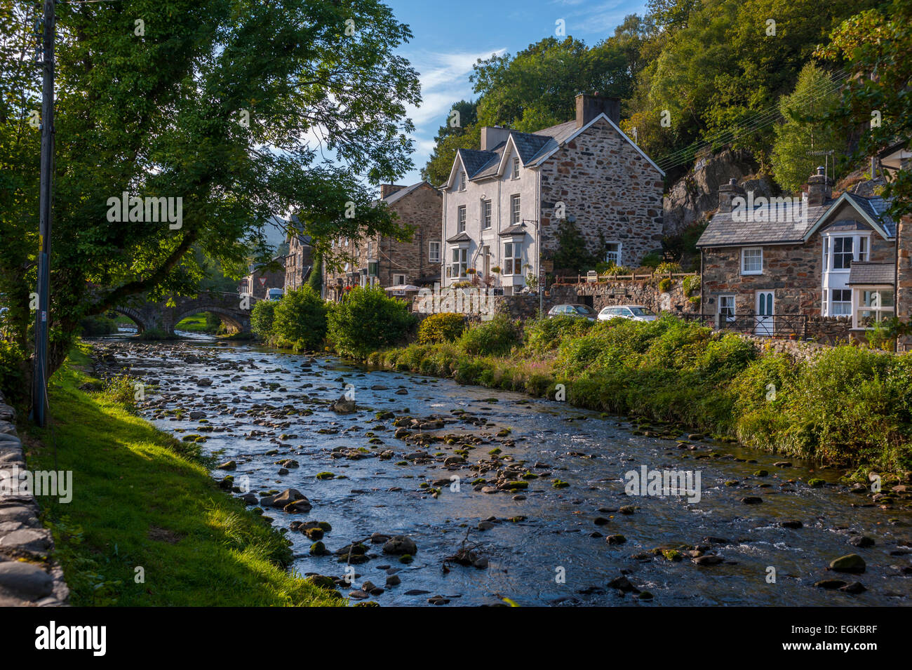 Bedgelart North wales. with river afon colwyn in foreground - Stock Image