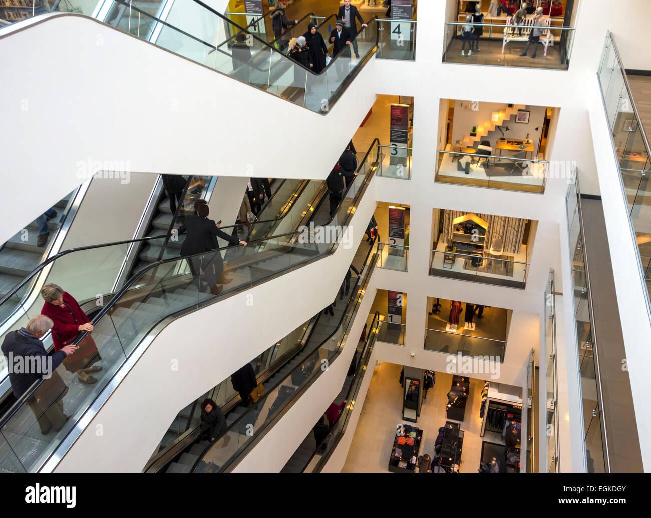 Escalators at John Lewis Dept. Store - Stock Image