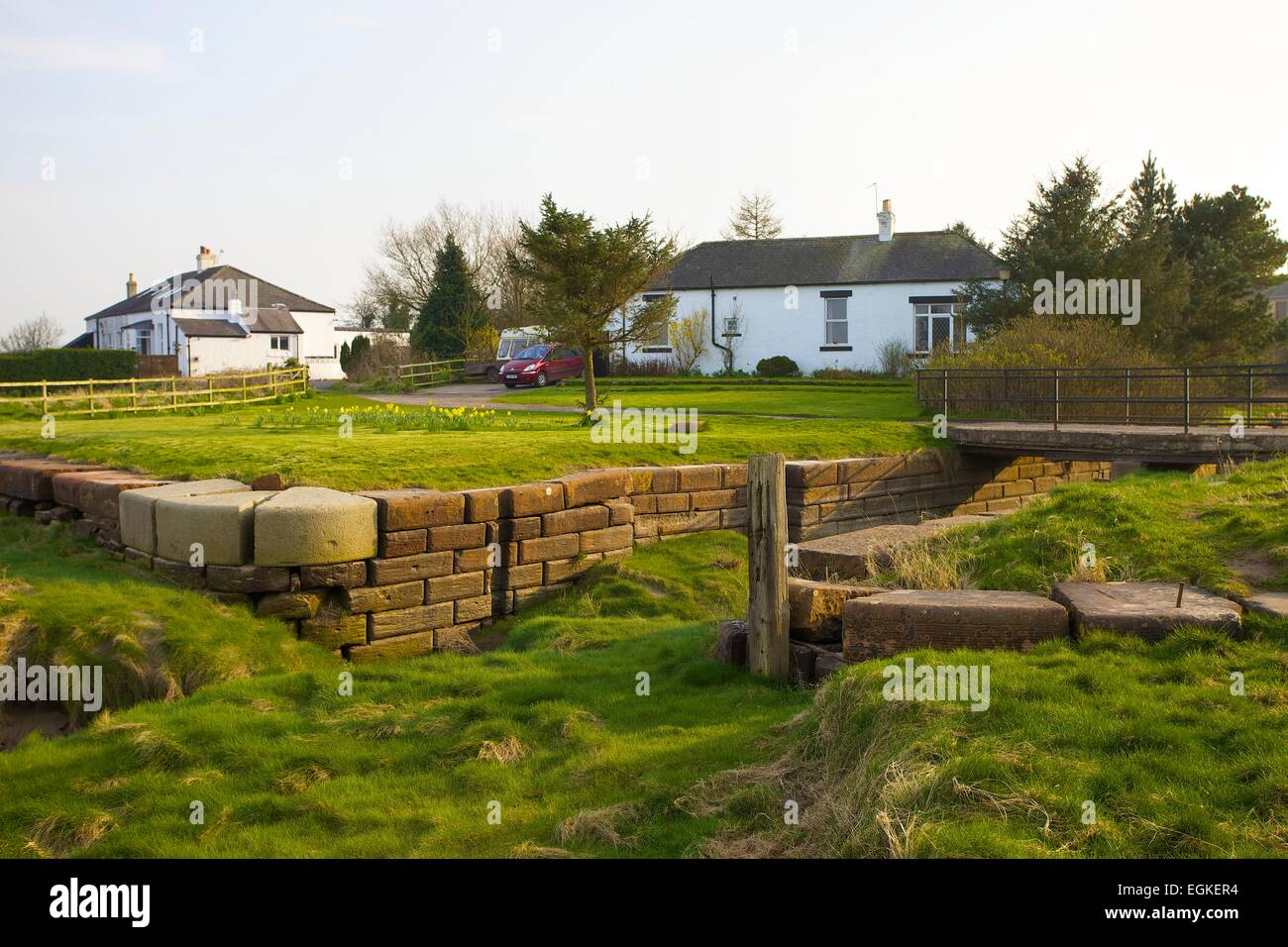 Sea lock end of the canal. Carlisle Navigation Canal, Port Carlisle, Solway Coast, Cumbria, England, UK - Stock Image