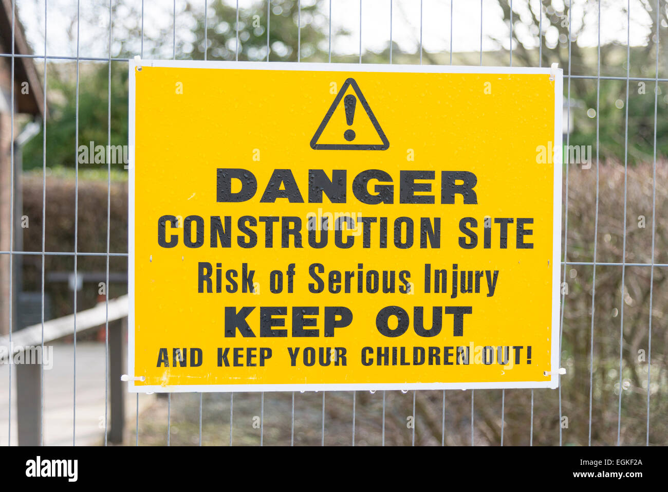 A danger keep out sign on a construction or building site in the UK - Stock Image