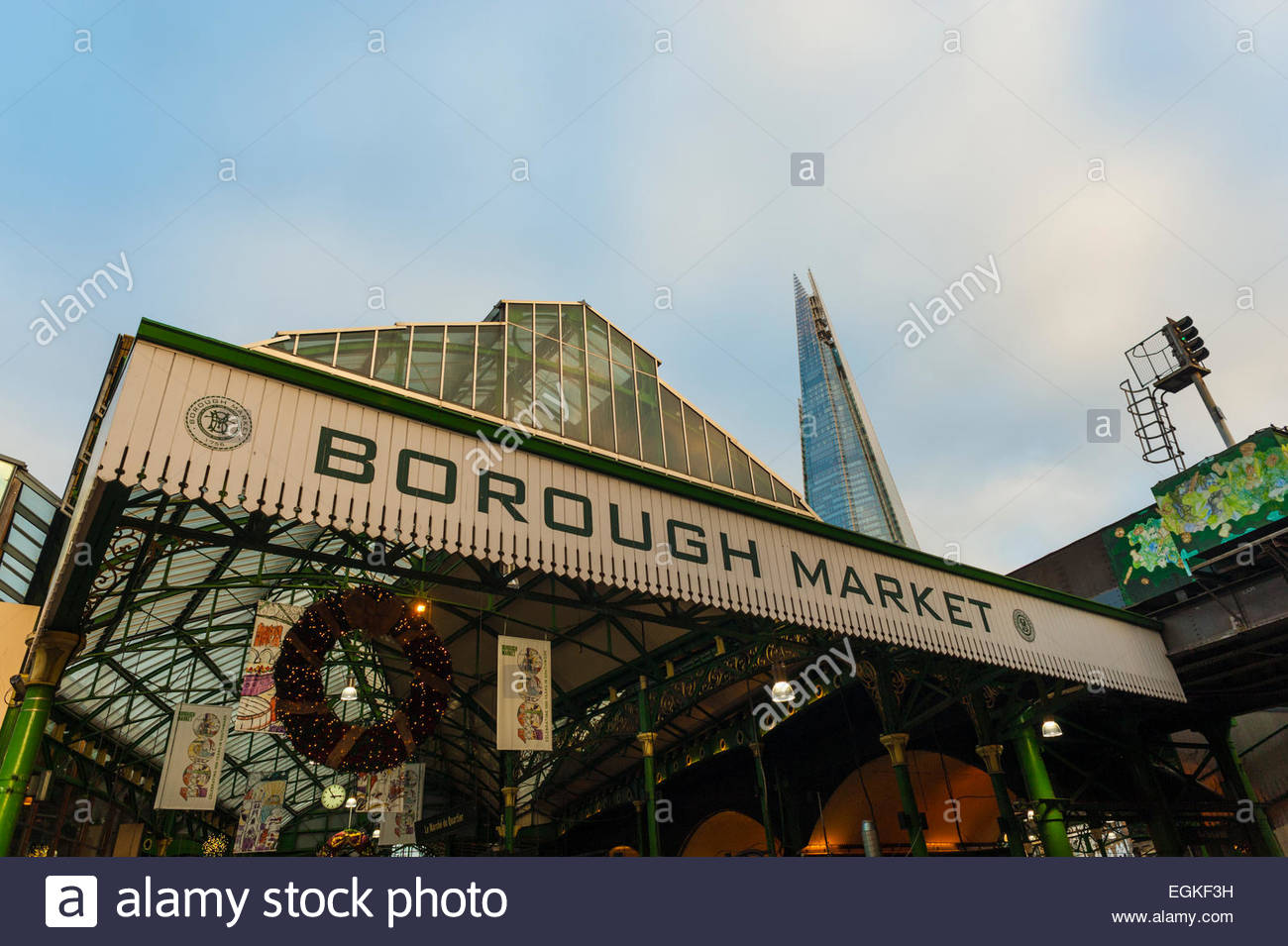 Entrance to Borough Market london - Stock Image