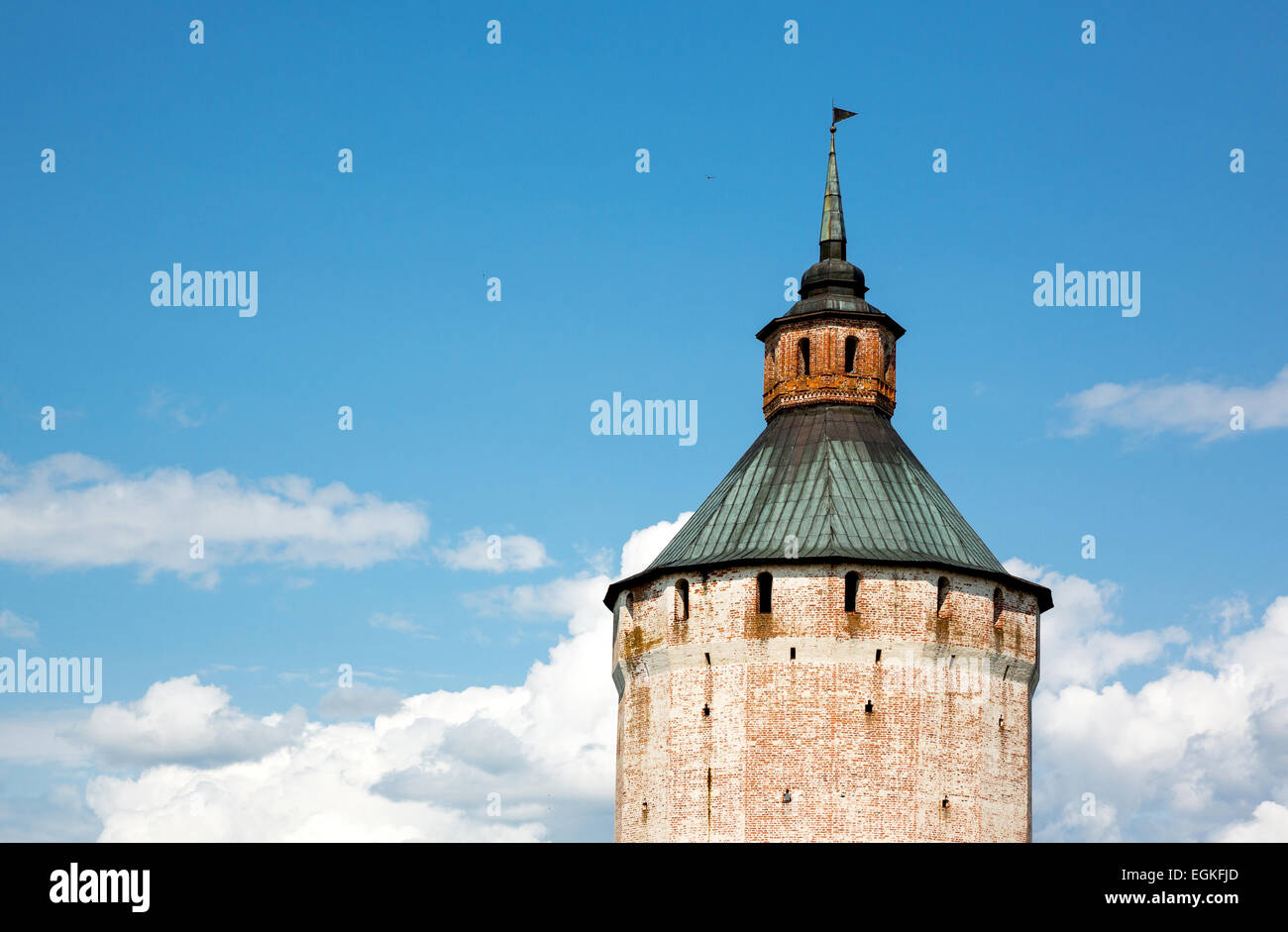 Russia, Goritsy, the tower of the Kirillo Belozersky Monastry - Stock Image