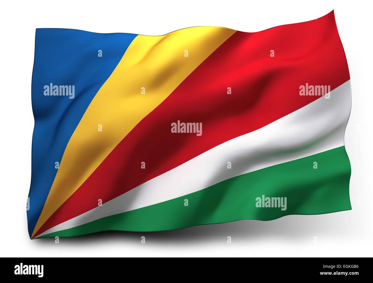 Waving flag of Seychelles isolated on white background - Stock Image