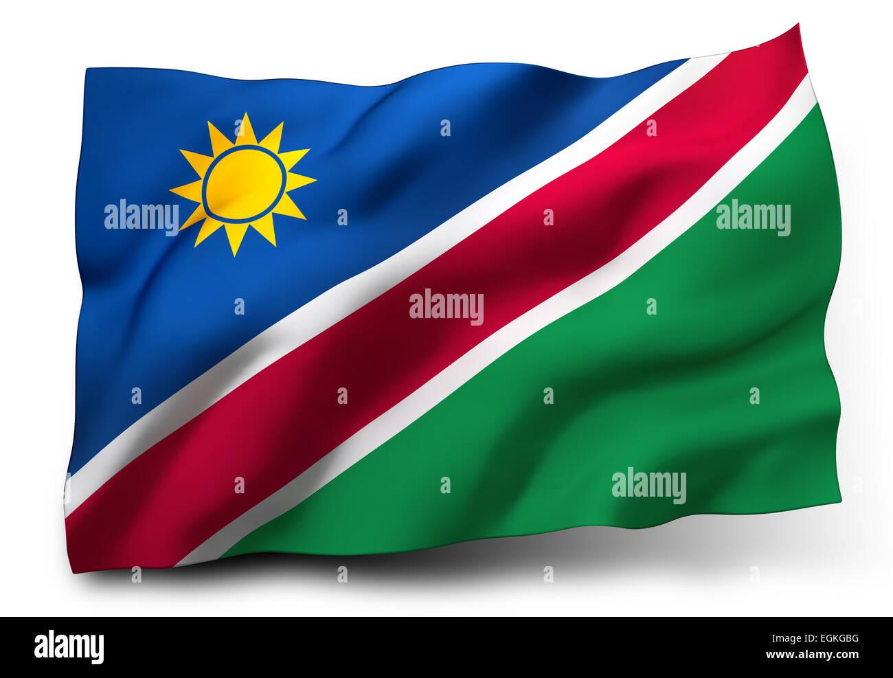 Waving flag of Namibia isolated on white background - Stock Image