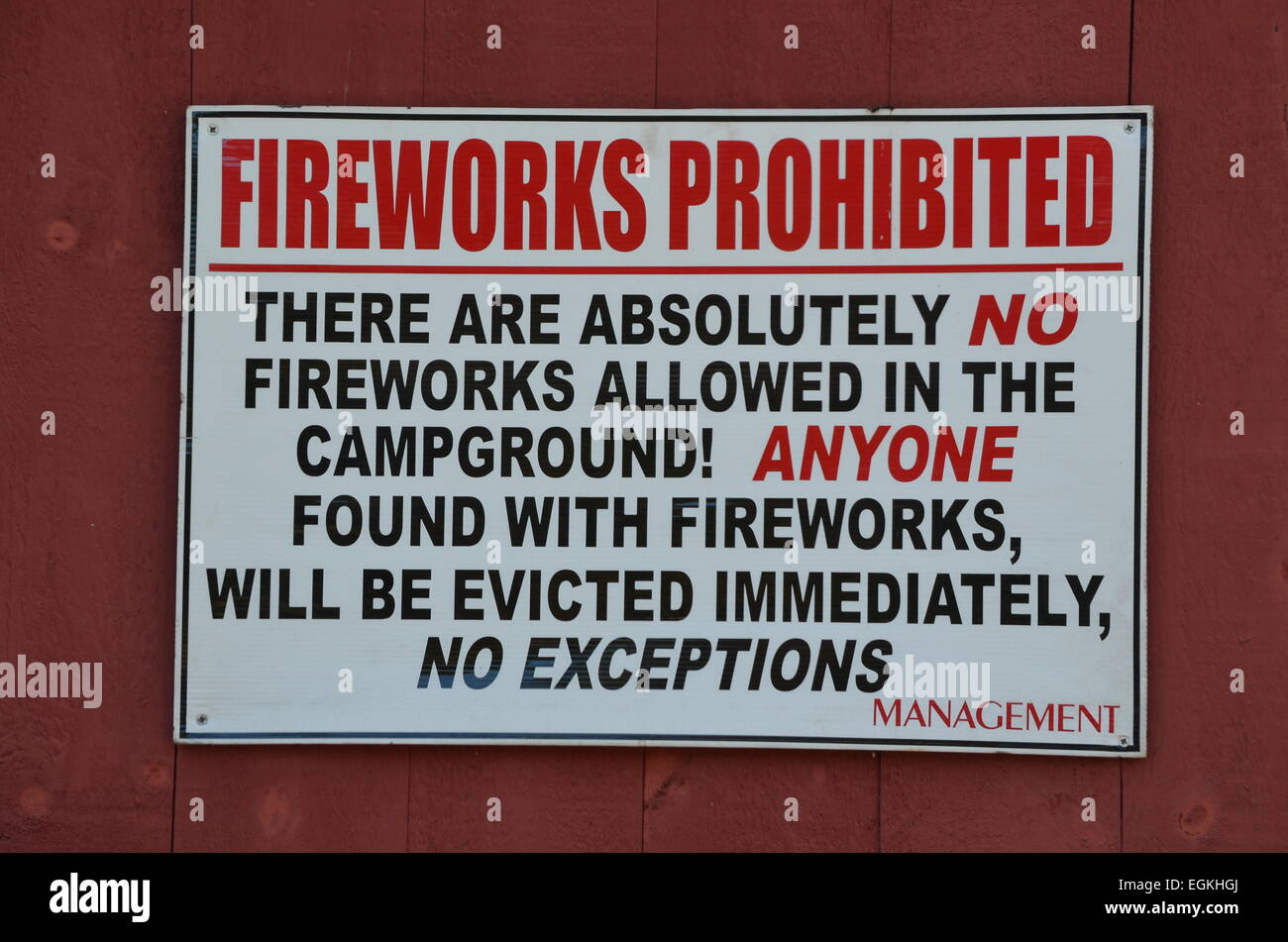 Fire works prohibited sign - Stock Image