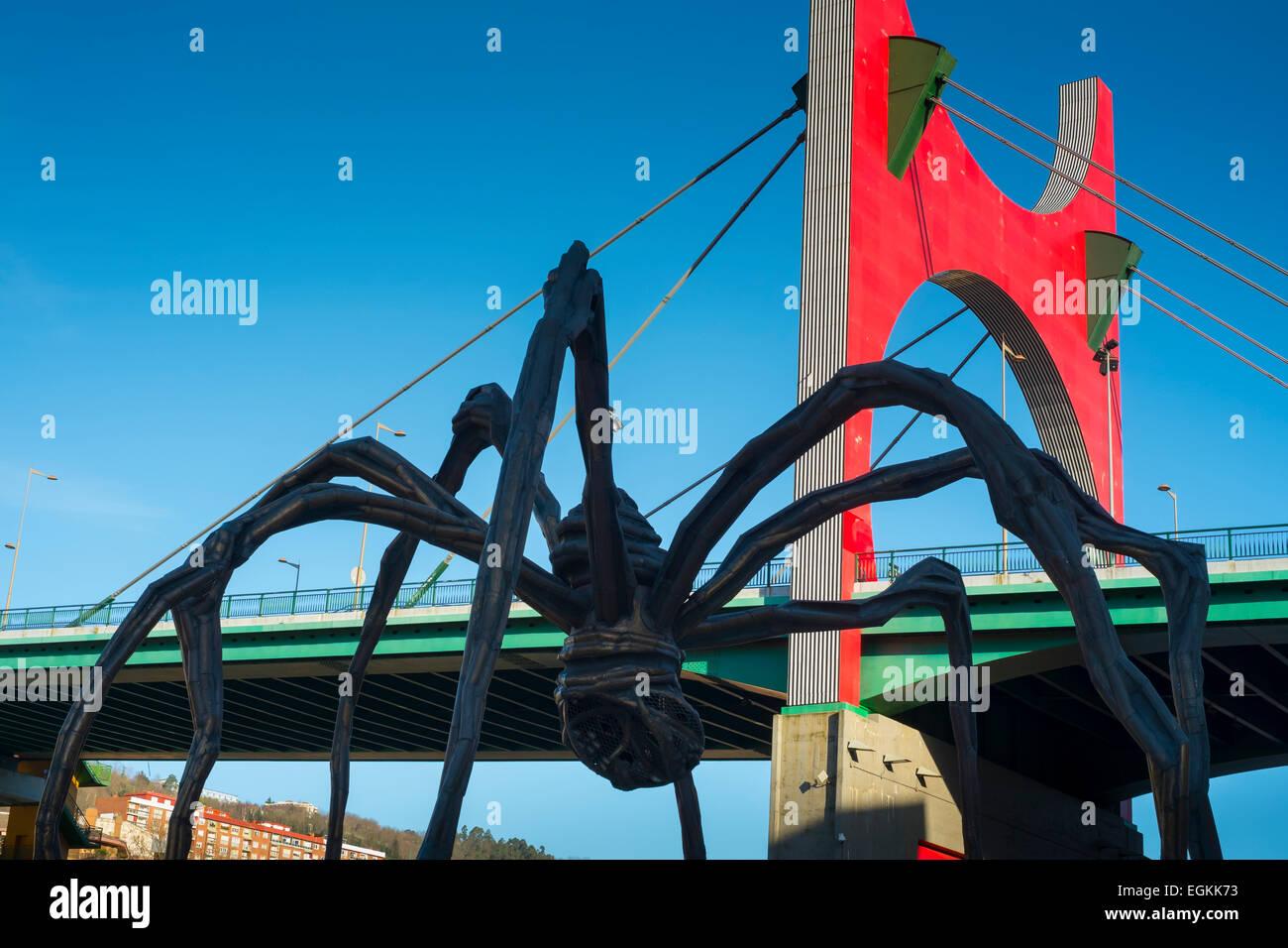 La Salve Bridge and 'Maman' spider sculpture. Bilbao, Spain. Europe. - Stock Image