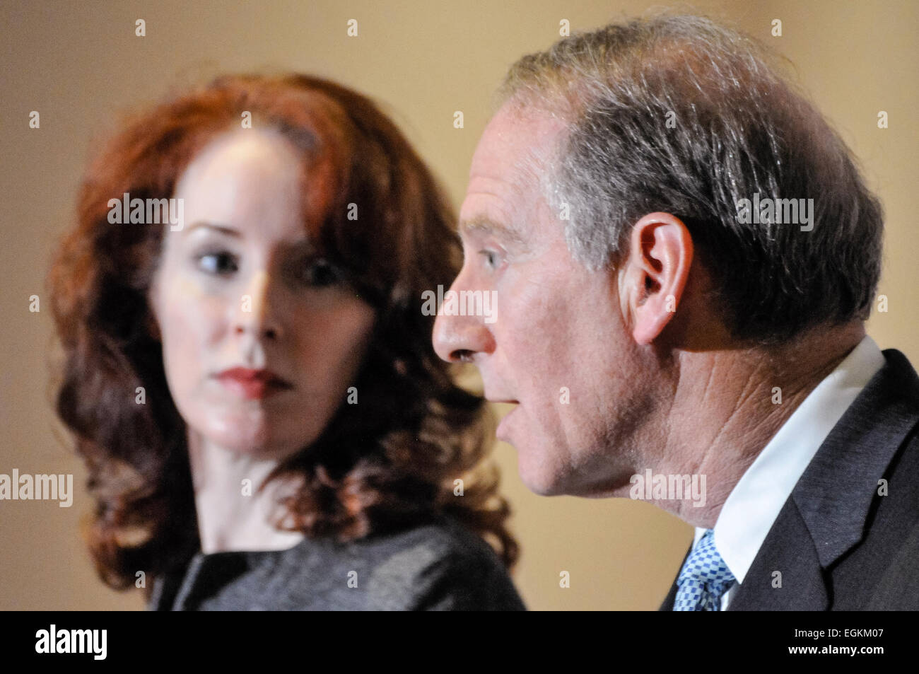 Belfast, Northern Ireland. 20 Dec 2013 - Dr Richard Haass and Prof Meghan O'Sullivan deliver their opinion on - Stock Image