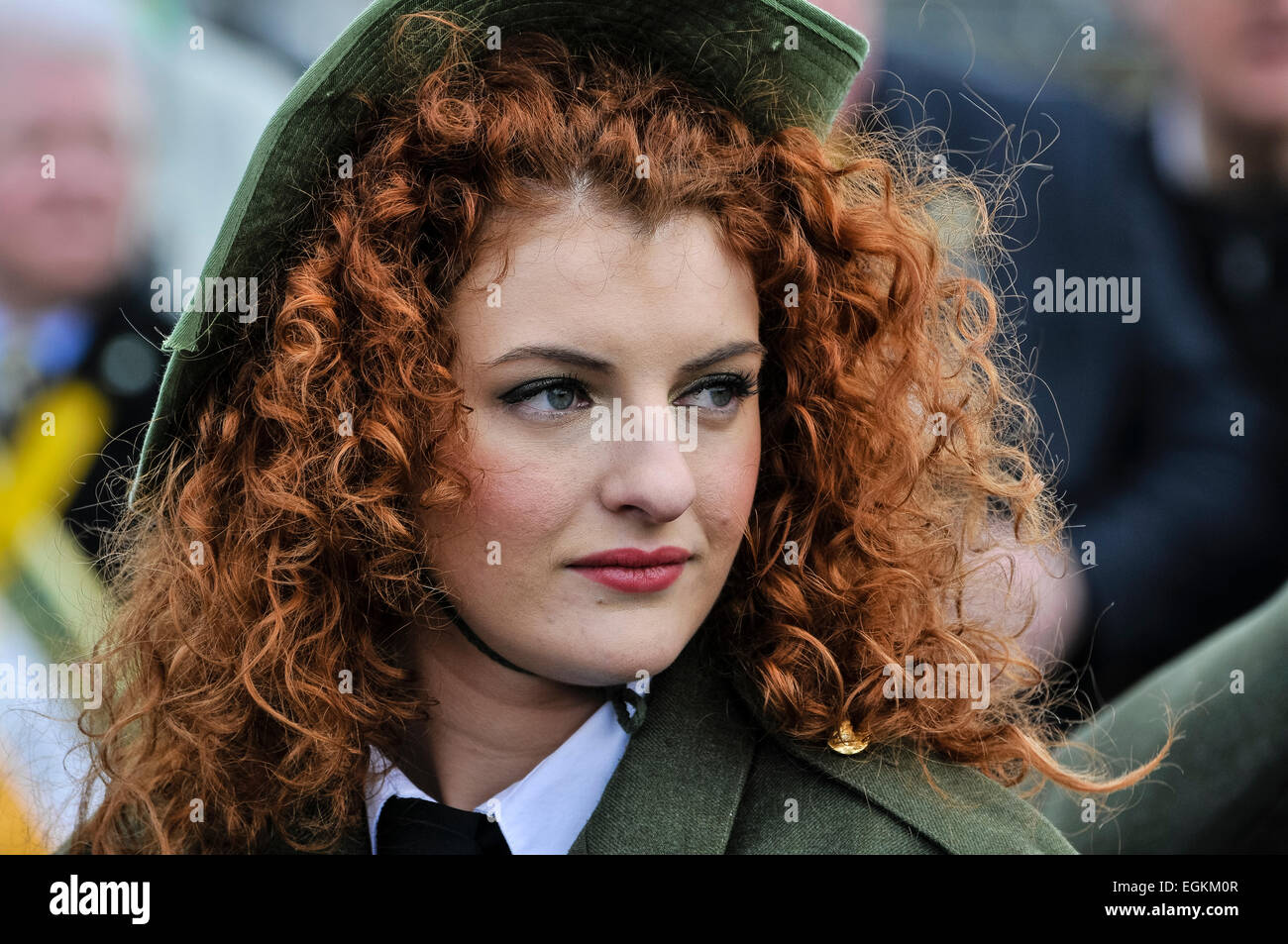 A pretty Irish young woman with curly red hair. Stock Photo