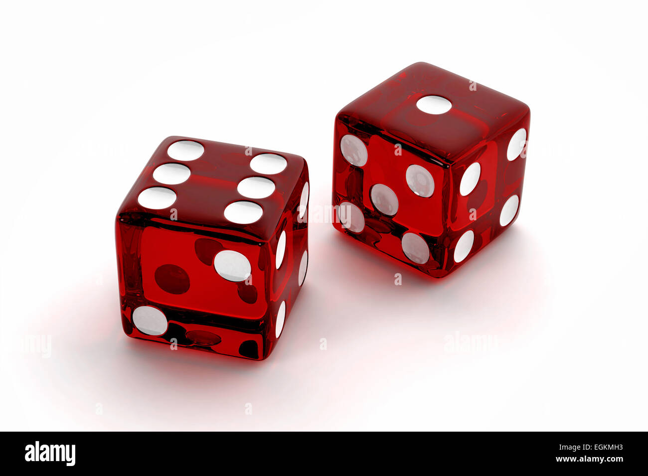 Two red semi transparent craps dice - Stock Image