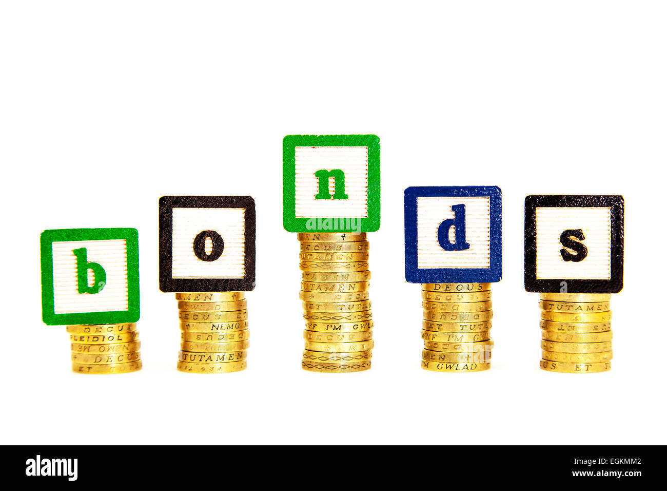bonds investment invest bond money rate percentage rates pay payout cash cutout cut out white background copy space - Stock Image