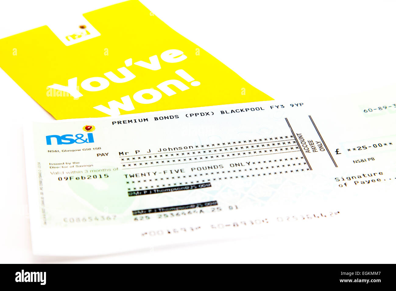Premium bond win bonds winner cheque winners check national savings & investments investment payment - Stock Image