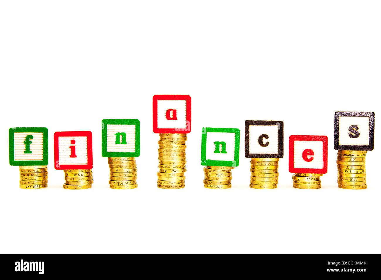 Finances finance money problems cash fund funds financial credit pounds cutout cut out white background copy space - Stock Image