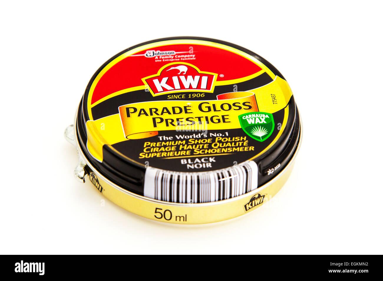 Kiwi shoe polish parade gloss prestige black tin product logo 50ml container cutout cut out white background copy - Stock Image