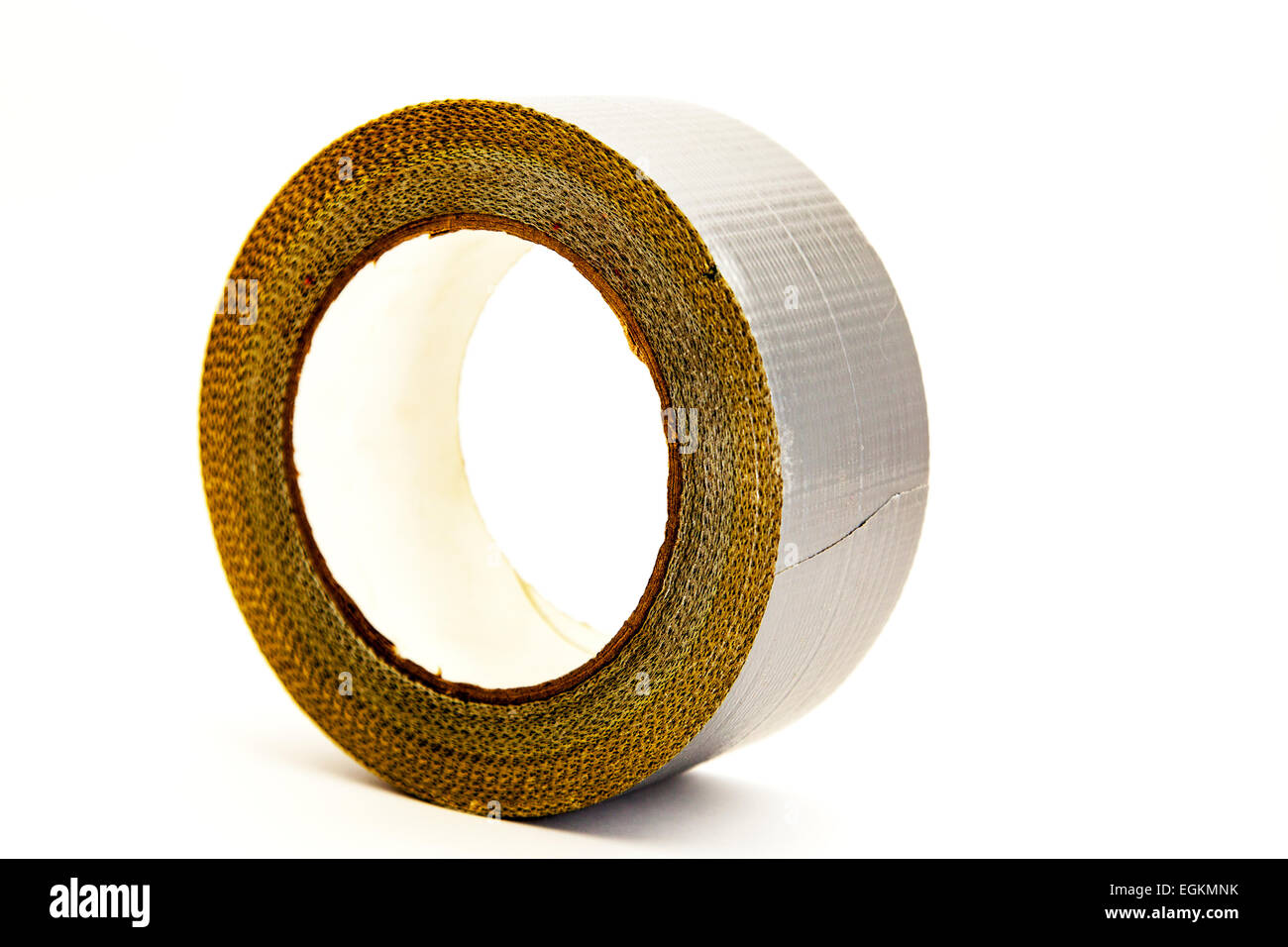 Duct tape gaffer roll reel silver adhesive sticky wrapping cutout cut out white background copy space isolated - Stock Image