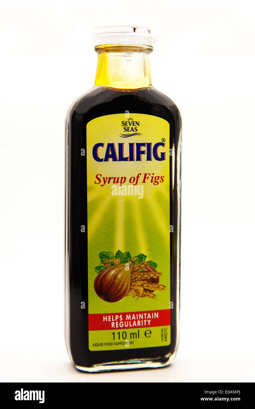 Syrup of figs Califig bottle regular regularity toilet help bowel movements cutout cut out white background copy - Stock Image