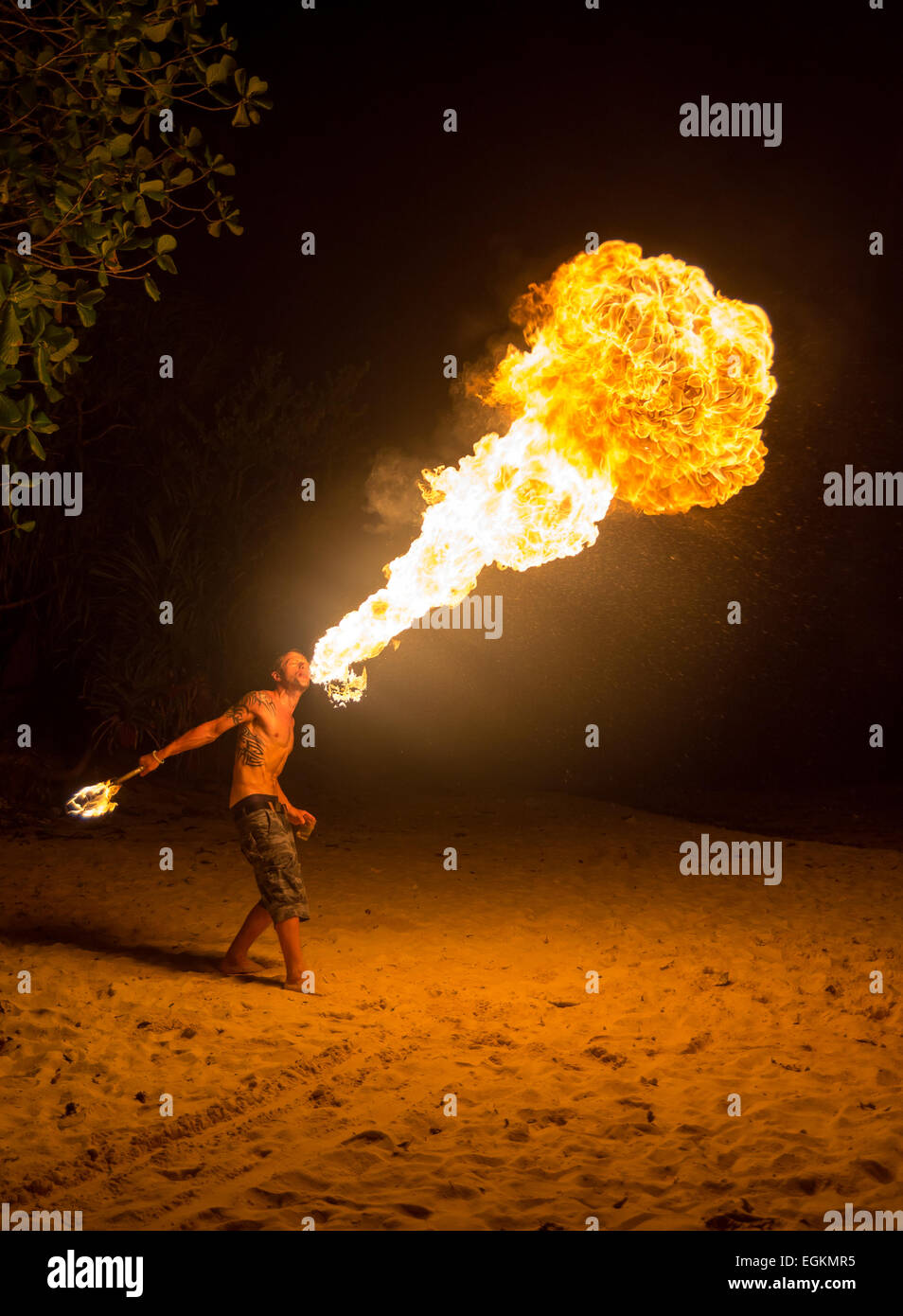 Night Fire Show, Turtle Bay resort, Perhentian islands, Malaysia - Stock Image
