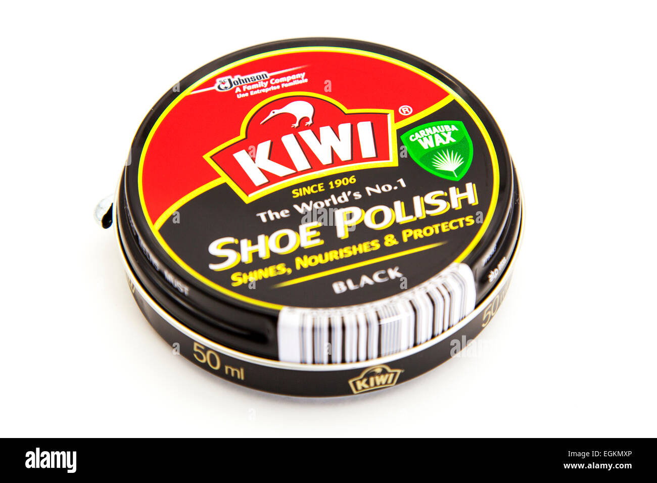 Kiwi shoe polish black tin product logo 50ml container cutout cut out white background copy space isolated - Stock Image